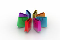 Shopping bags in multiple color Stock Photography