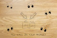 Shopping bags with new products surrounded by cartoon eyes looki Stock Images
