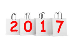 Shopping Bags with 2017 New Year Sign. 3d Rendering. Shopping Bags with 2017 New Year Sign on a white background. 3d Rendering Royalty Free Stock Photography