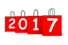 Shopping Bags with 2017 New Year Sign. 3d Rendering. Shopping Bags with 2017 New Year Sign on a white background. 3d Rendering Stock Images