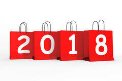 Shopping Bags with 2018 New Year Sign. 3d Rendering Royalty Free Stock Images