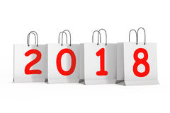 Shopping Bags with 2018 New Year Sign. 3d Rendering Royalty Free Stock Photo