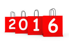 Shopping Bags with 2016 New Year Sign. On a white background Royalty Free Stock Images