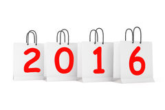 Shopping Bags with 2016 New Year Sign. On a white background Royalty Free Stock Photos