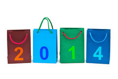 Shopping bags and numbers 2014 Royalty Free Stock Photo