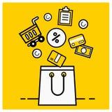 Shopping bags, online shopping concept, digital marketing vector illustration