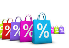 Shopping Bags Percent Discount. Discount, sale and shops offers concept with a lot of colorful shopping bags with frontal percent symbol isolated on white Royalty Free Stock Images
