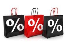 3 Shopping Bags Percents Royalty Free Stock Photos