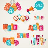 Shopping bags, price labels in flat design style vector illustration