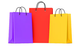 Shopping bags purple, red, yellow. 3d llustration. 3D render, isolated on white background Stock Images