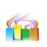 Shopping bags with rainbow Royalty Free Stock Images