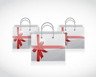 Shopping bags with ribbons illustration design Stock Photos