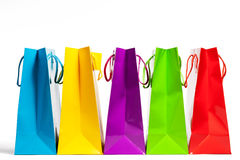 Shopping bags in a row Royalty Free Stock Photos