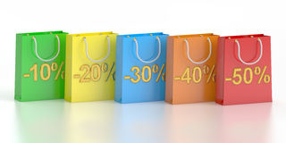 Shopping bags, sale and discount concept. 3D rendering. On white background Stock Image