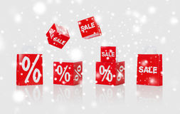 Shopping bags with sale and percent signs Royalty Free Stock Photos