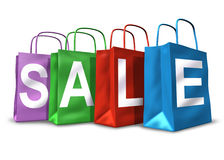 Shopping bags sale symbol. Shopping bags with the word sale representing the materialism and confidence of consumer shoppers retail spending habits Stock Image