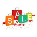 Shopping bags and sale text Stock Photo