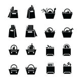 Shopping Bags Set with drink, foods and status   icons Royalty Free Stock Photography