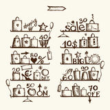 Shopping bags on shelves, big sale. Vector Royalty Free Stock Photos