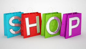 Shopping bags and shop word Royalty Free Stock Photos