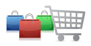 Shopping bags and a shopping cart Stock Images