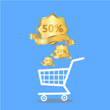Shopping bags in shopping cart and discount, Stock Image