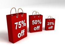 Shopping bags showing off percentages Stock Photography