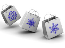 Shopping bags with snowflake Stock Photography
