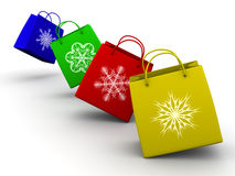 Shopping bags with snowflake royalty free illustration