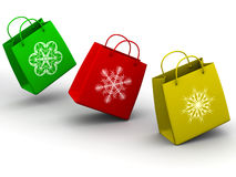 Shopping bags with snowflakes Royalty Free Stock Images