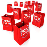 Shopping bags 75%. And special offer vector illustration