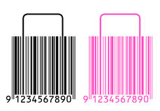 Shopping bags stylized as barcode Stock Image