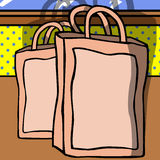 Shopping bags on the table Royalty Free Stock Photo