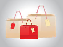 Shopping bags with tags Stock Image