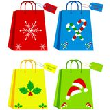 Shopping bags. And tags with christmas theme Vector Illustration