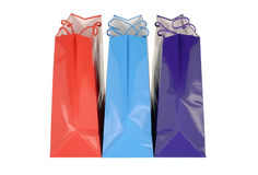 Shopping bags. Three bright shopping or gift bags Royalty Free Stock Image
