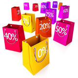 Shopping bags from 5 to 90% Royalty Free Stock Photo