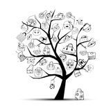 Shopping bags on tree for your design Stock Image