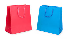 Shopping bags. Two paper shopping bags on white background Stock Image