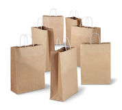 Shopping bags of the week. Seven shopping paper bags of the week isolated on white background stock photography