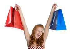 Shopping Bags Woman. Excited woman holding shopping bags Stock Photo