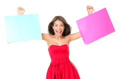 Shopping bags woman excited Royalty Free Stock Photography