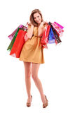 Shopping bags in woman hand Stock Photo
