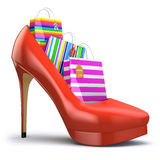 Shopping bags in women high heel shoes. Concept of consumerism. 3d Royalty Free Stock Photo