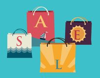 Shopping bags with the word sale on them and summer views. Illustration Royalty Free Stock Images