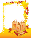 Shopping bags with yellow leafs. Seasonal sell, , illustration Stock Images
