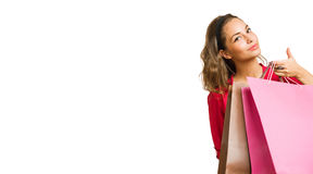 Shopping banner with brunette beauty. Stock Image