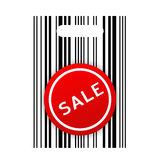 Shopping barcode bag with sale sticker stock image