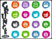 Shopping Bascket icons set in grunge style Royalty Free Stock Photography