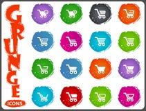 Shopping Bascket icons set in grunge style Stock Image